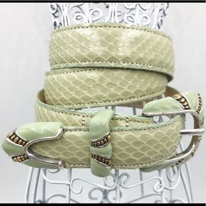 Carlisle Vintage Snakeskin Belt light Green Med